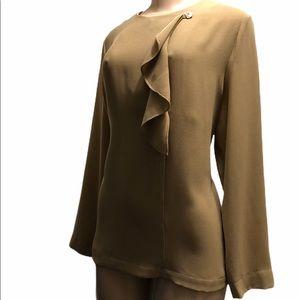 Vintage EMMELLE New York poly blend cream blouse.